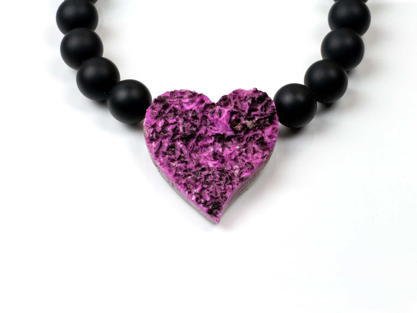 Cobalt-Calcite heart/interchangeable lock systems with Onyx necklace