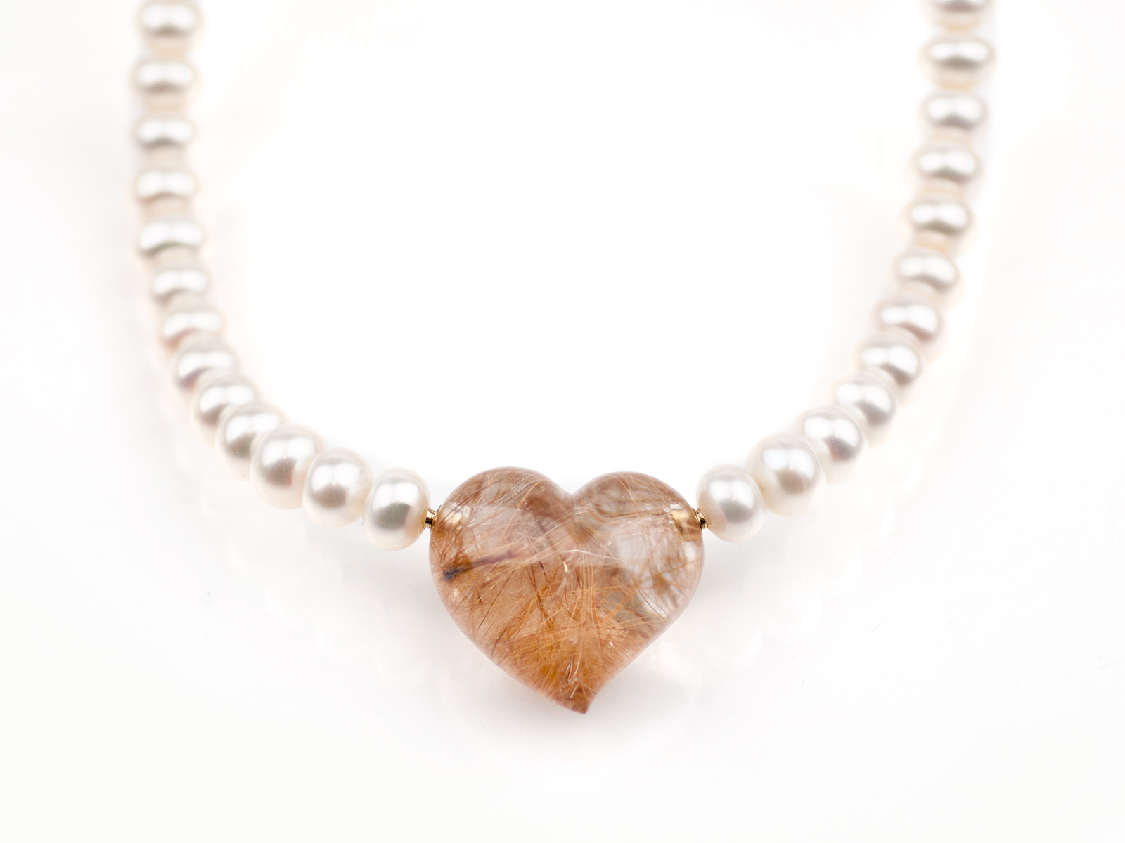 Rutilated Quartz heart/interchangeable lock systems with pearl necklace