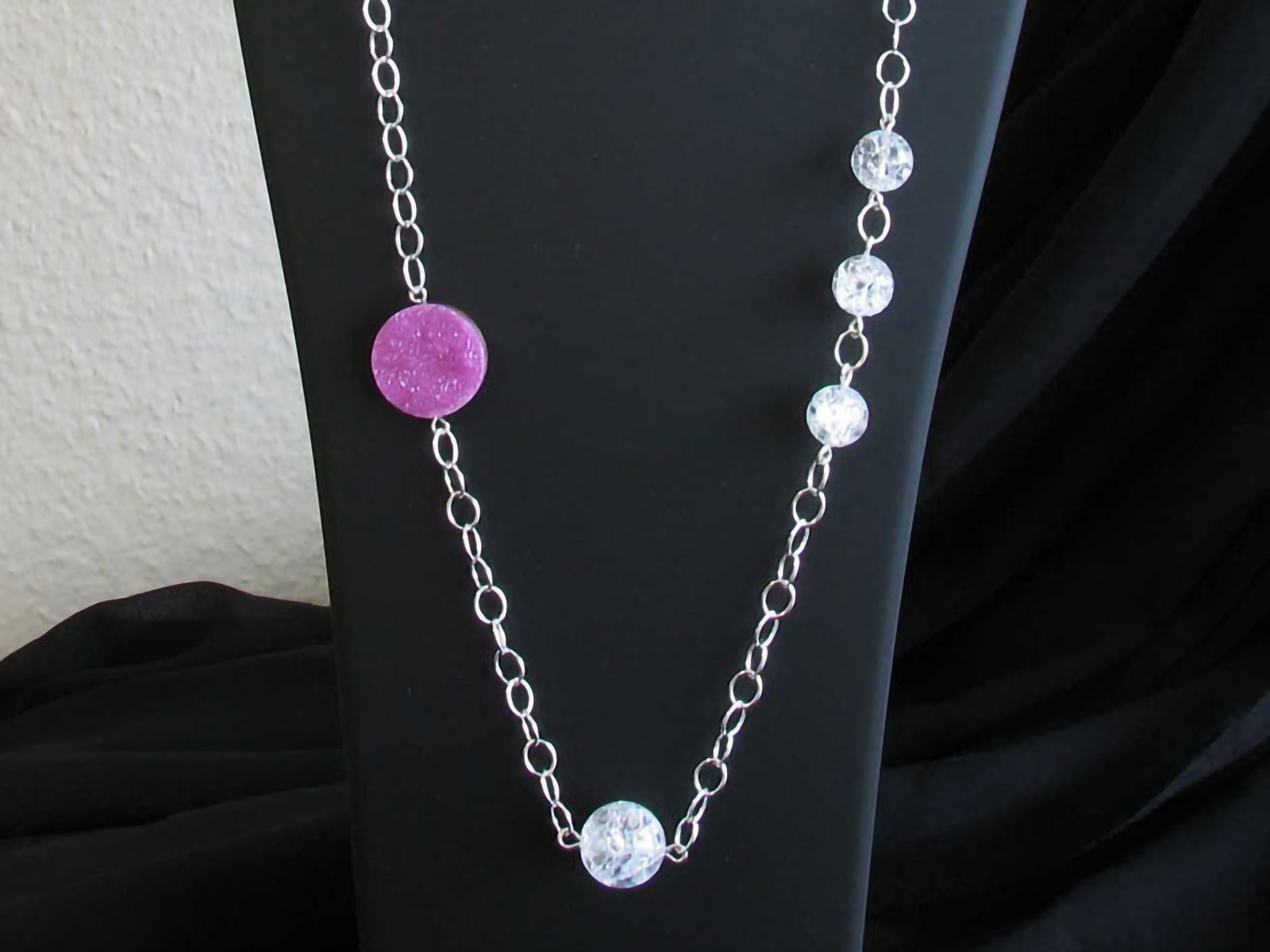 Silver necklaces combined with cut mineral stones